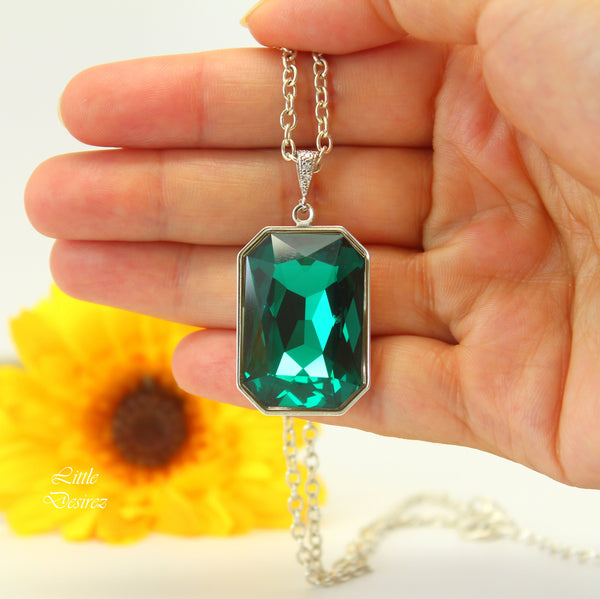 Emerald Jewelry Green and Gold Necklace Swarovski Large Crystal EM-41