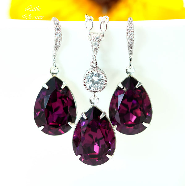 Earrings and Necklace Set Purple Jewelry Set AM-31
