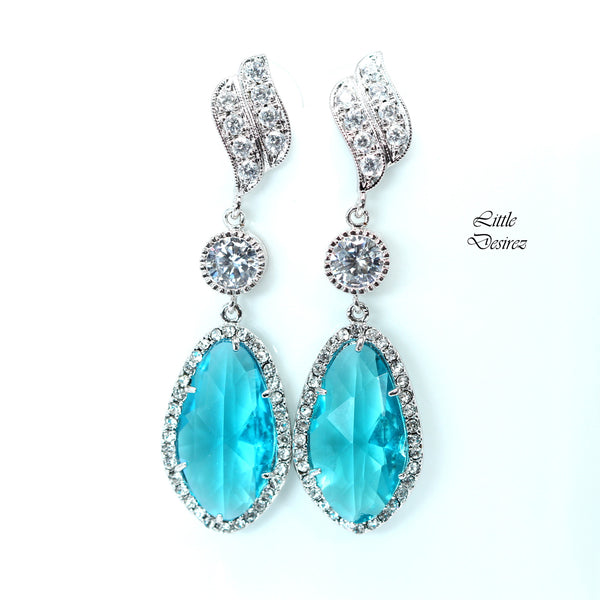 Teal Blue Chandelier Earrings TB-40