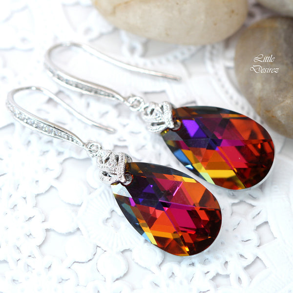Colorful Dangle Earrings Swarovski Volcano VO-32