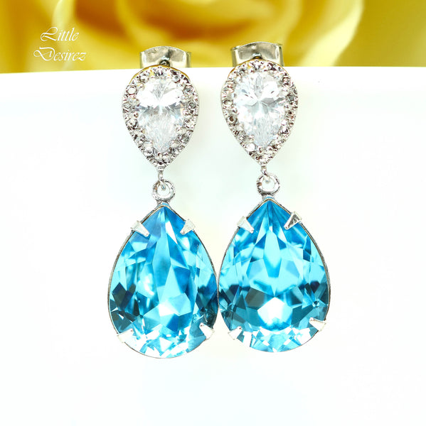 Blue Bridal Earrings CZ Earrings AQ-31