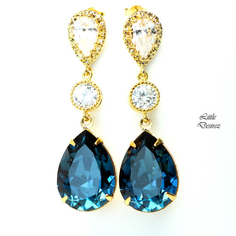 Blue Bridal Earrings MO-31
