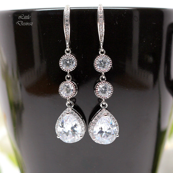 Long Crystal Earrings Cubic Zirconia SPARKLE