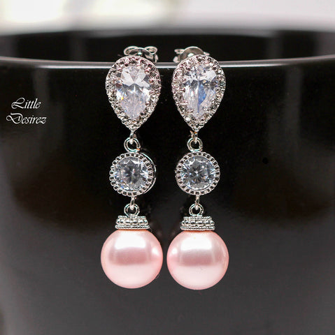 Pink Pearl Earrings Swarovski Pearls P44