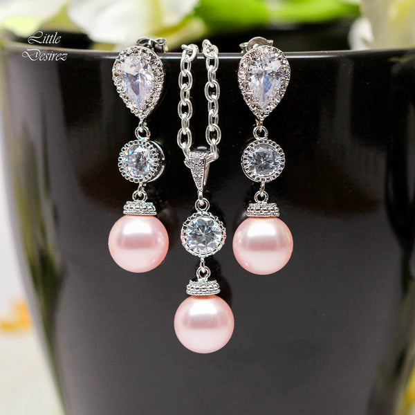 Pink Pearl Necklace Blush Pink Jewelry CZ Jewelry P44N