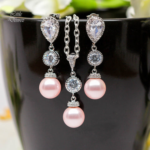 Blush Pink Pearl Jewelry Set Earrings and Necklace P44-PC