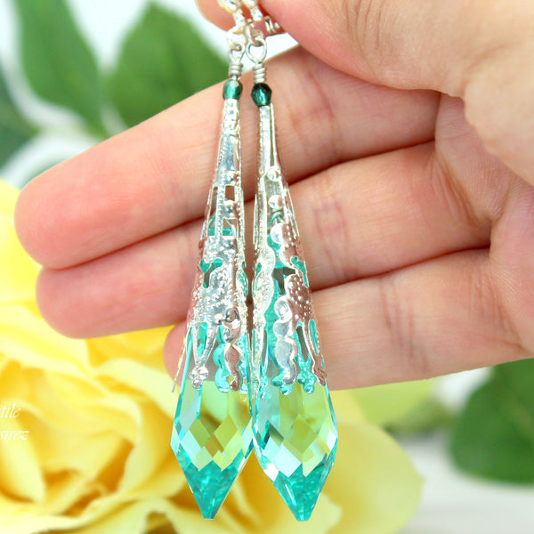 Teal Green Earrings Chandelier Earrings AG-36