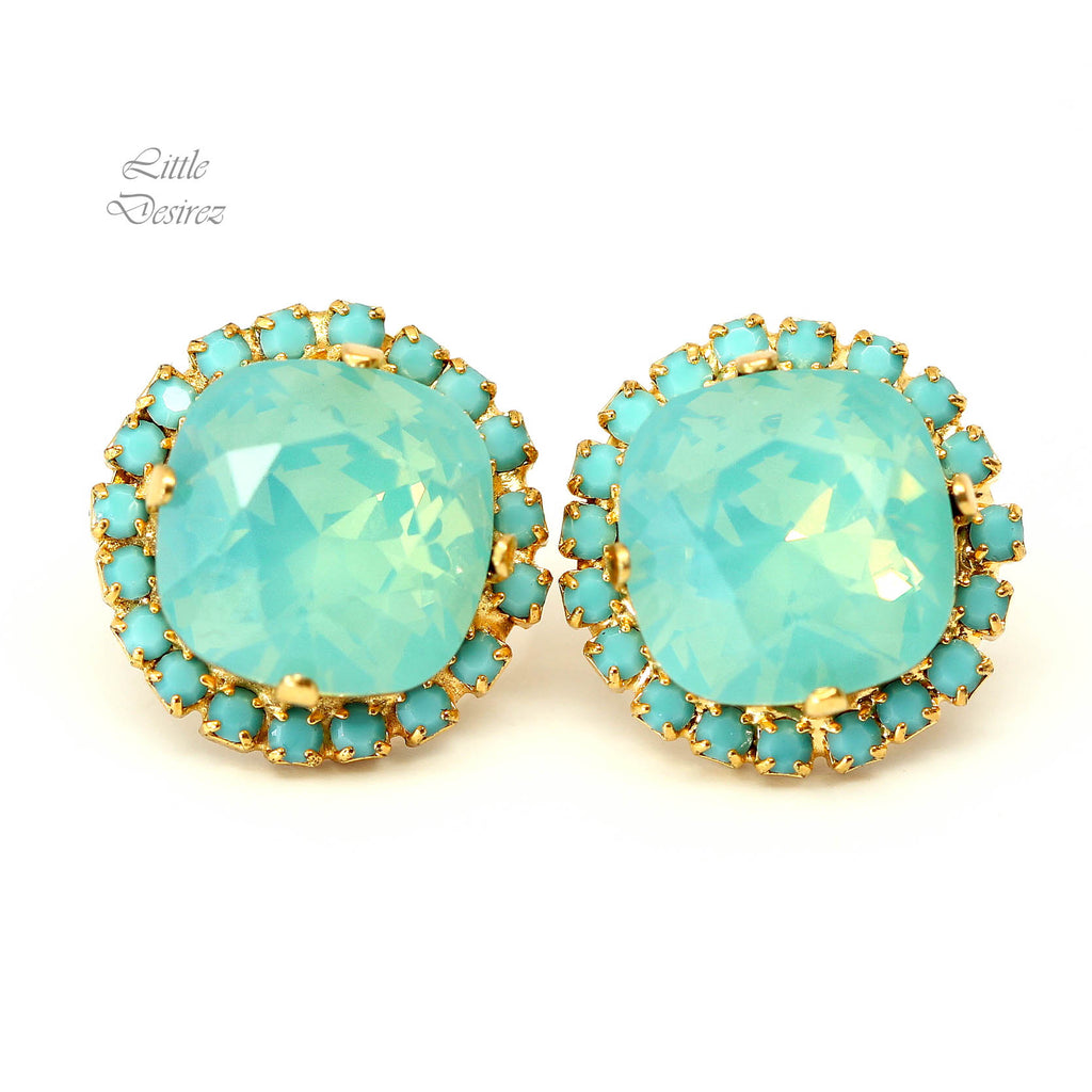 Mint Opal Stud Earrings Sea Foam Pacific Opal MT-50