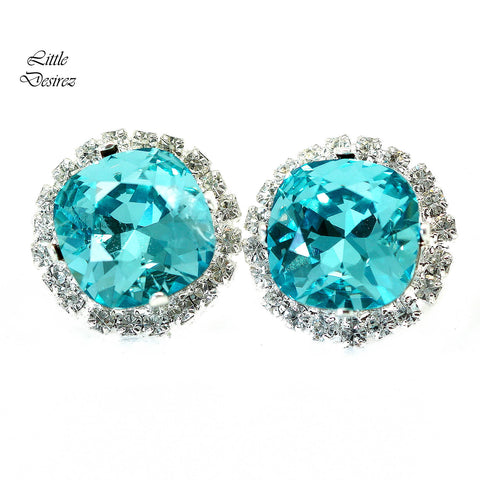 Turquoise Blue Crystal Earrings Rhinestone Studs Post Earrings TQ-50-S