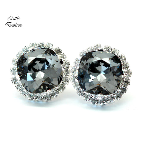 Charcoal Grey Earrings Silver Night SN-50