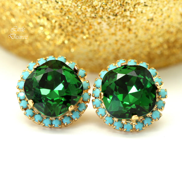 Green and Blue Earrings DM-50