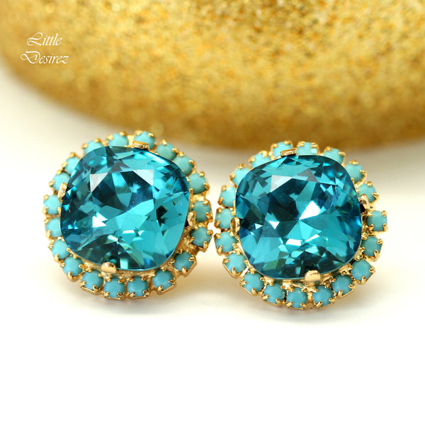 Swarovski Bridal Earrings Dark Blue Earrings IN-50