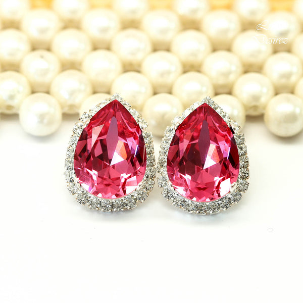Pink Post Earrings Large Stud Earrings Teardrop Studs RP-31