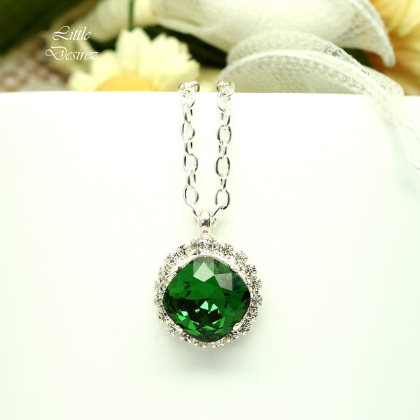Green Crystal Necklace Rhinestone Pendant DM-50