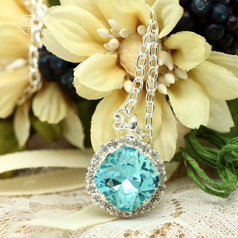 Blue Crystal Bling Necklace TQ-50