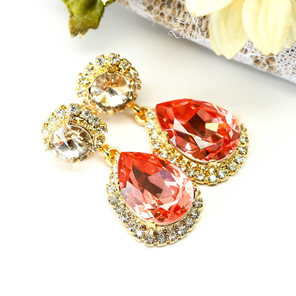 Premium Lux Gold Earrings with Swarovski Crystals Customized More Colors Available CO-31