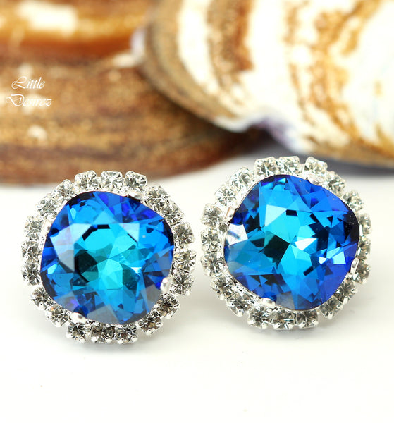 Blue Stud Earrings Swarovski Bermuda Blue Green Blue Teal BB-50