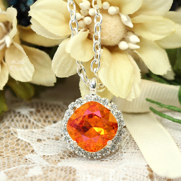 Crystal Leverback Earrings Orange and Pink AP-50