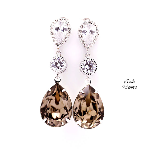 Brown Earrings Taupe Earrings GB-31