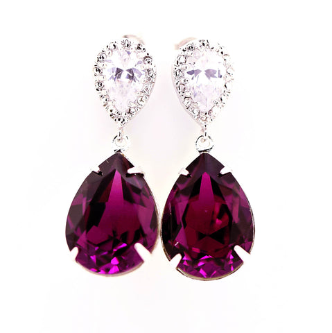 Swarovski Purple Earrings AM-31