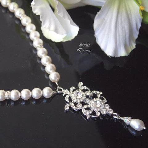 Old Hollywood Art Deco Pearl Necklace ELEANOR