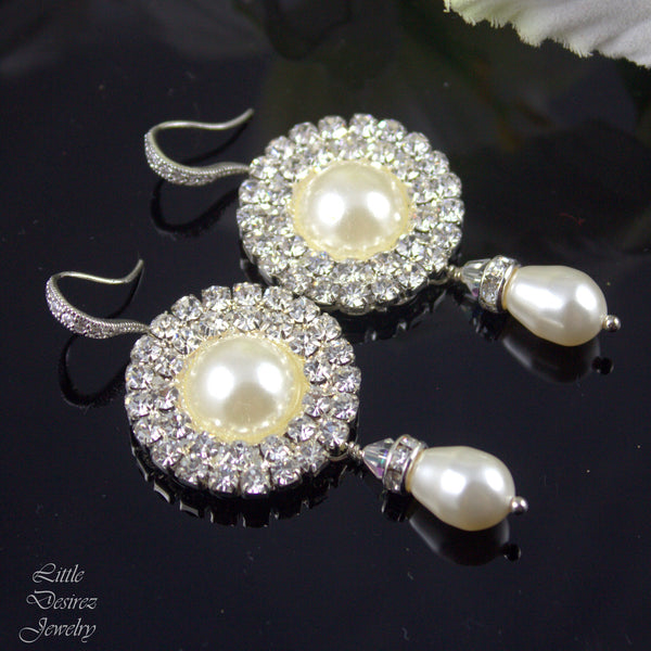 Pearl and Crystal Drop Earrings GRACE