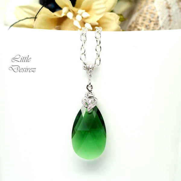 Emerald Earrings and Necklace Set DM-32