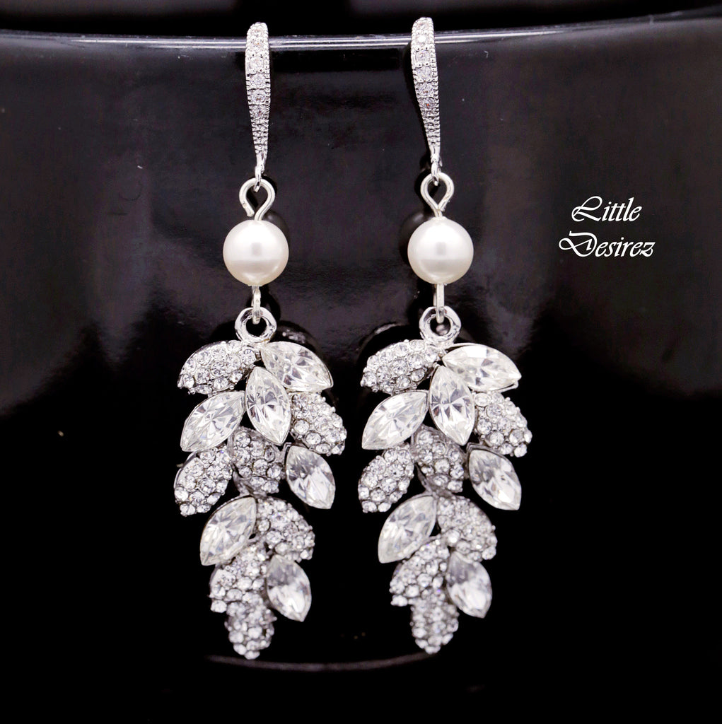 Crystal Leaf and Pearl Earrings MIA