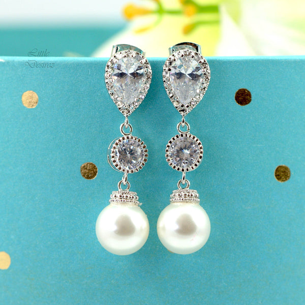 White Pearl Jewelry Bridal Earrings and Necklace Set Bridesmaid Gift P44JS