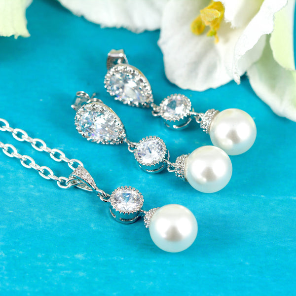 White Pearl Jewelry Bridesmaid Bridal Jewelry P44