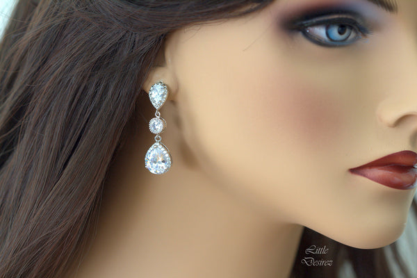 Cubic Zirconia Chandelier Earrings SPARKLE