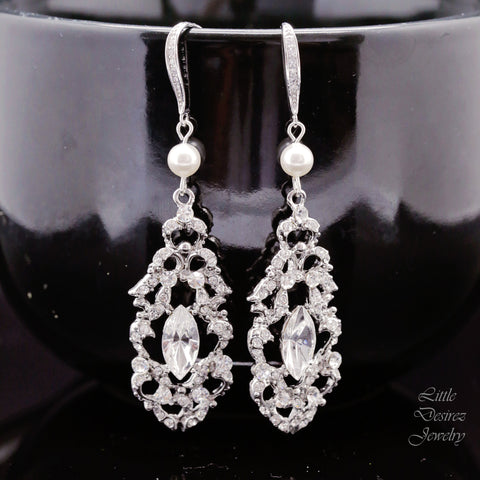 Vintage Style Bridal Wedding Earrings Filigree Art Deco Earrings ALEXANDRA