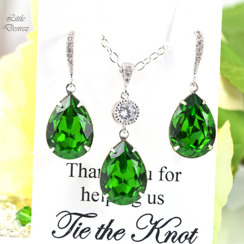 Green Earrings Set Swarovski Jewelry FG-31