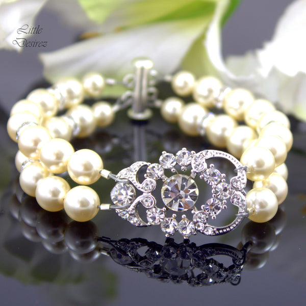 Bridal Pearl Bracelet Wedding Jewelry Swarovski Pearl AMENDINE