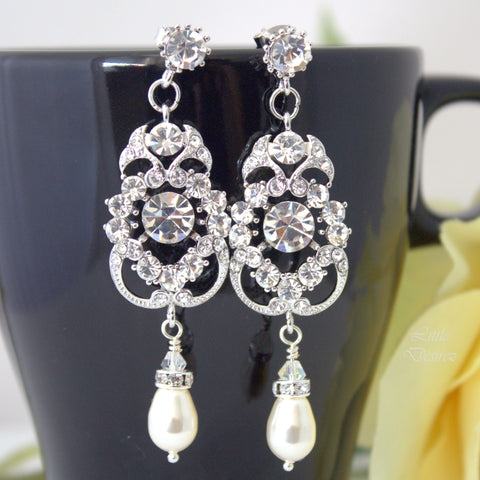 Pearl and Rhinestone Wedding Bridal Earrings AMENDINE