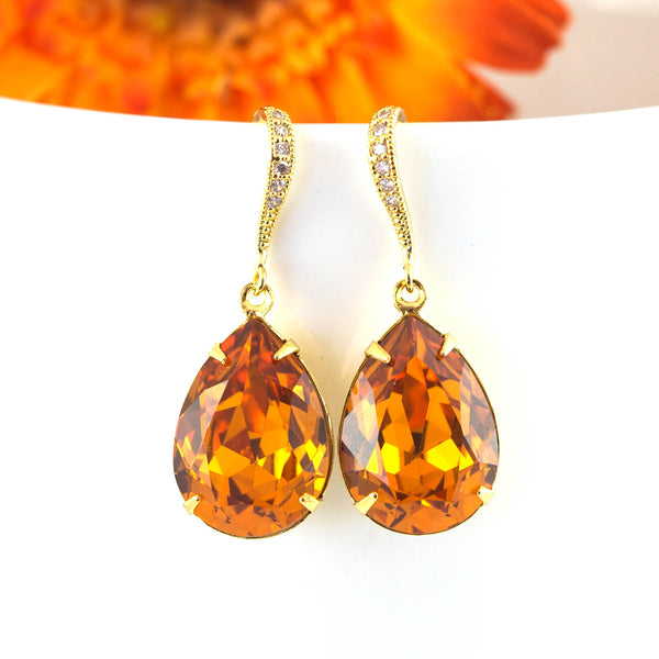 Gold Dangle Earrings Topaz Earrings Bridesmaid Gift TO-31