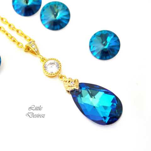 Blue and Gold Swarovski Necklace BB-32