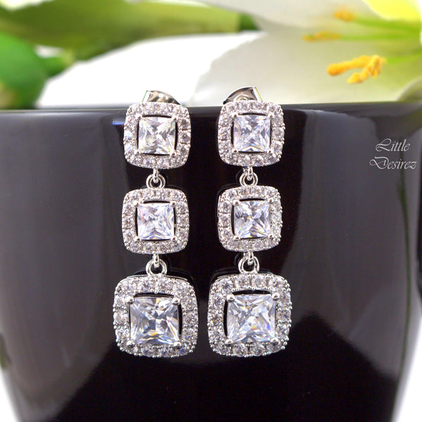 Cubic Zirconia Drop Earrings Square Cut