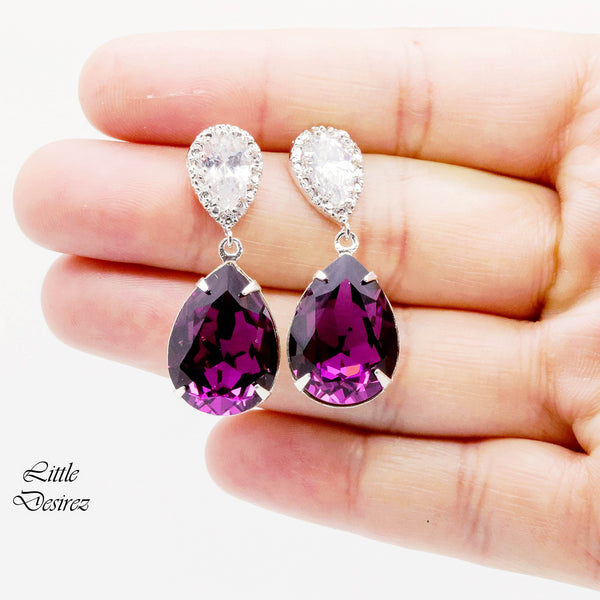 Teardrop Earrings Amethyst Jewelry Swarovski Purple Earrings AM-31
