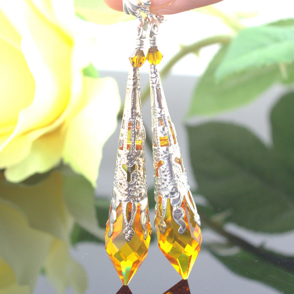 Topaz Earrings Amber Earrings TO-36