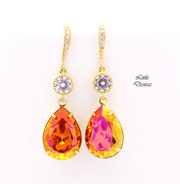 Orange and Pink Drop Earrings AP-31