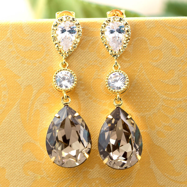 Brown Crystal Earrings GB-31