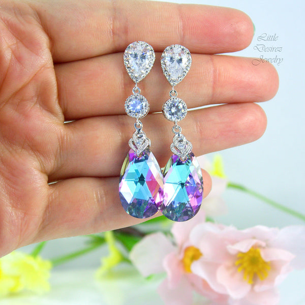 Long Chandelier Earrings Crystal Earrings Vitrail Light VL-32