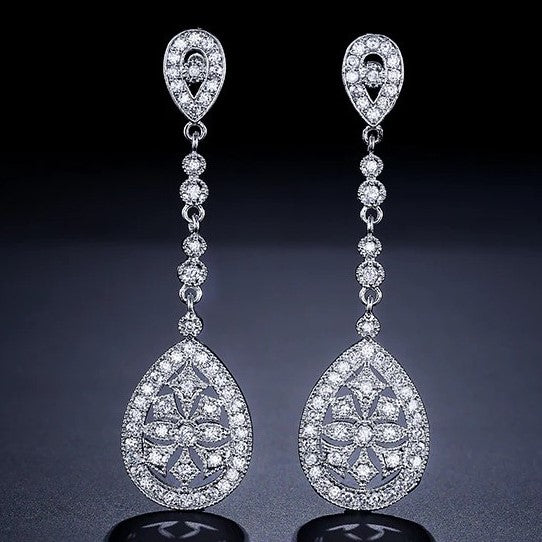 Crystal Art Deco Wedding Earrings KENDRA