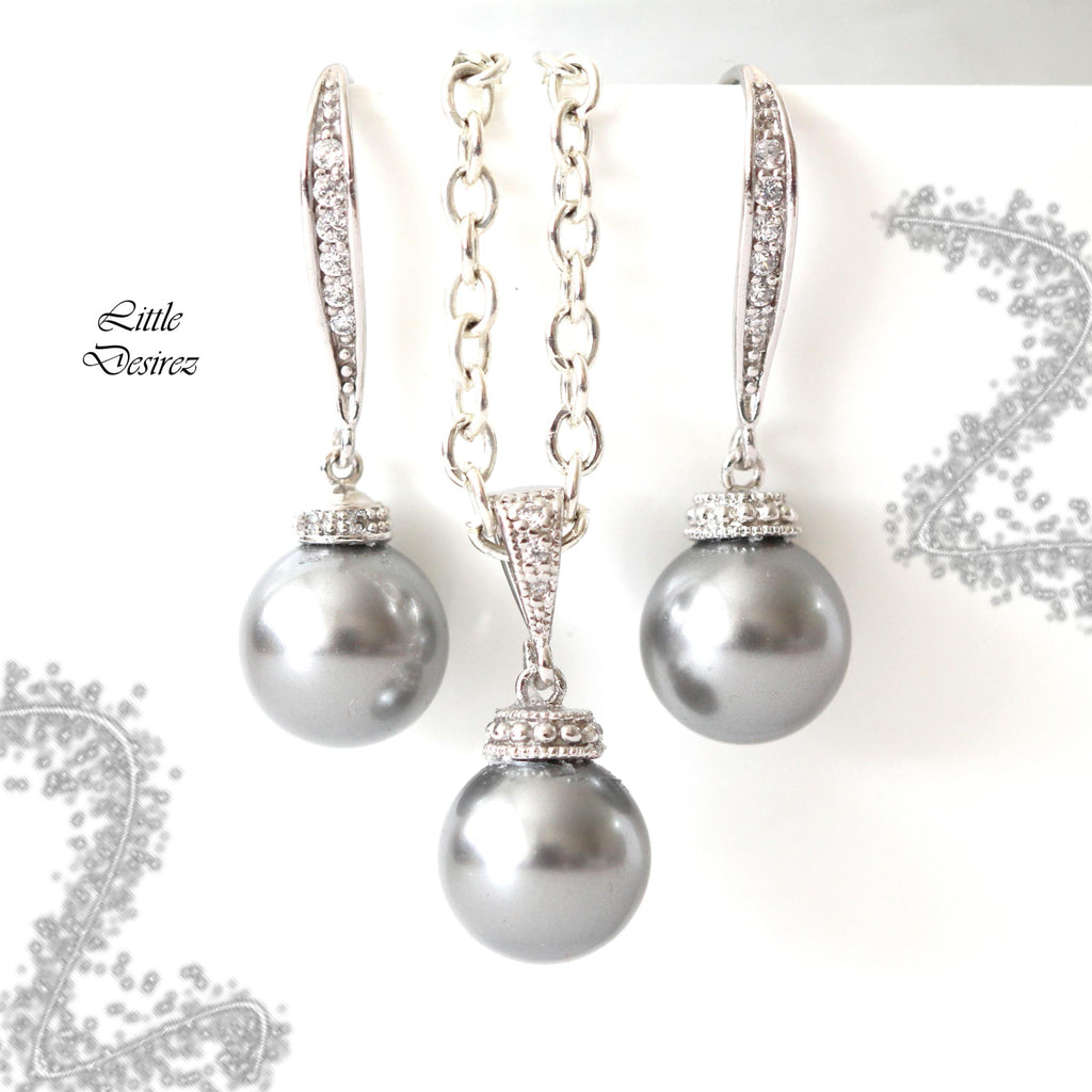 Earrings and Necklace Swarovski Pearl Jewelry Set P44JS