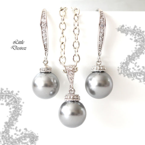 Light Grey Pearl Jewelry Set P44