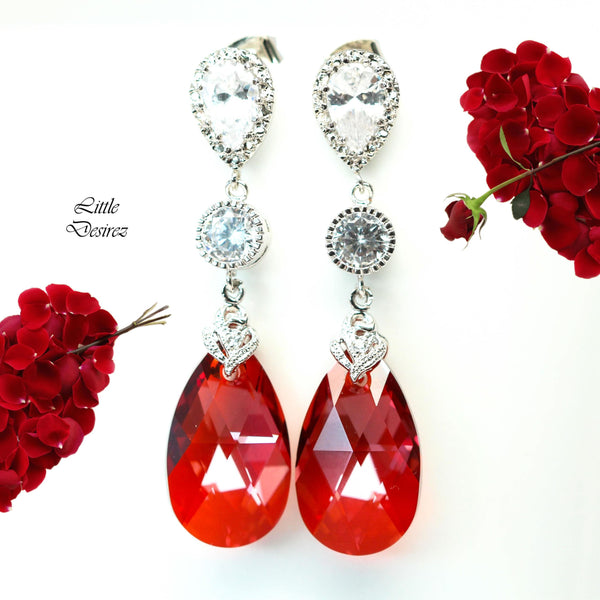 Red Earrings Dangle Drop Earrings RM-32