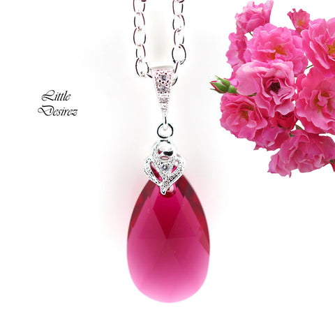 Fuchsia Necklace Swarovski Ruby Necklace RP-32