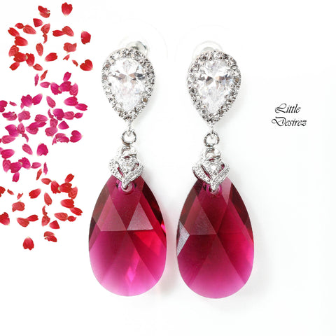 Pink Dangle Earrings Swarovski Crystal RP-32