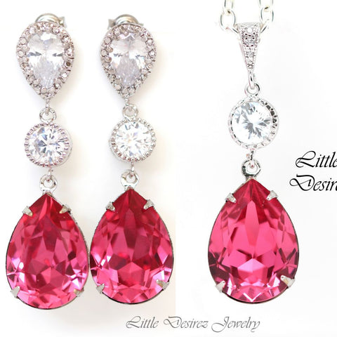 Cubic Zirconia Earrings and Necklace Set RP-31